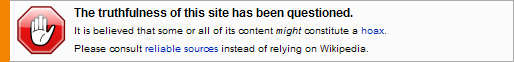Wikipedia truthfulness disclaimer