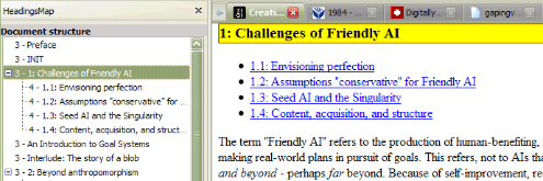 "HeadingsMap view of the ""Creating Friendly AI"" document"